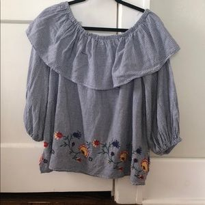 Zara Off the Shoulder Embroidered Top